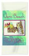 Vero Beach Map4 Beach Towel