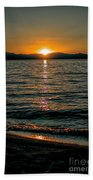 Vertical Sunset Lake Beach Towel