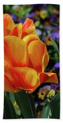 Very Pretty Colorful Yellow And Red Striped Tulip Beach Towel