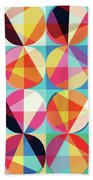 Vibrant Geometric Abstract Triangles Circles Squares Beach Towel