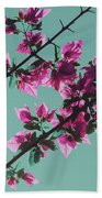 Vibrant Pink Flowers Bloom Floral Background Beach Towel