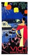 Vichy, Firework At Celebration Night Beach Towel