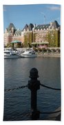 Victoria Harbour With Railing Beach Towel by Carol Groenen