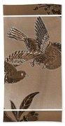 Victorian Birds In Sepia Beach Towel