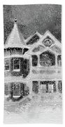 Victorian Christmas Black And White Beach Towel