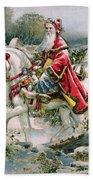 Victorian Christmas Card Depicting Saint Nicholas Beach Towel