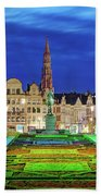 View Of Brussels From Jardin Du Mont Des Arts Beach Towel by Barry O Carroll