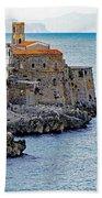 View Of Cefalu Sicily Beach Towel
