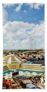 View Of Central Market Landmark In Phnom Penh City Cambodia Beach Towel