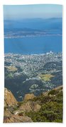 View Of City From Mountain Top Beach Towel