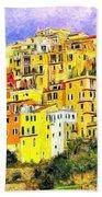 View Of Corniglia - Cinque Terre Beach Towel