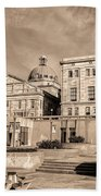 View Of Montgomery County Courthouse From The Southside In Sepia Beach Towel