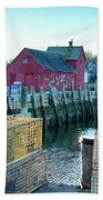 View Of Motif Through Lobster Pots Beach Towel by Jeff Folger
