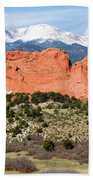 View Of Pikes Peak And Garden Of The Gods Park In Colorado Springs In Th Beach Towel