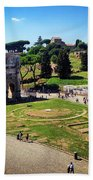 View Of The Arch Of Constantine From The Colosseum Beach Towel