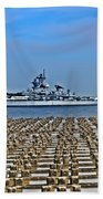 View Of The Battleship New Jersey From Philadelphia Beach Towel