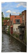 View Of The Canal From Maria Brug On Katelijnestraat In Bruges Beach Towel