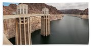 View Of The Hoover Dam Lake With Low Water Reserves Beach Towel