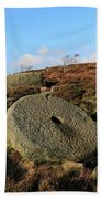 View Of The Mother Cap Gritstone Rock Formation, Millstone Edge Beach Towel