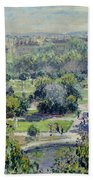 View Of The Tuileries Gardens Beach Towel by Claude Monet