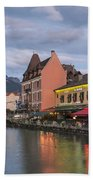 View Of Thiou River In Annecy Beach Towel