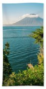 View Of Volcano San Pedro With A Crown Of Clouds In Guatemala Beach Towel