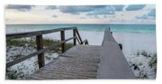 View Of White Sand And Blue Ocean From Wooden Boardwalk Beach Towel