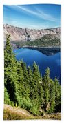 View Of Wizard Island Crater Lake Beach Towel