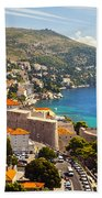 View Over Dubrovnik Coastline Beach Towel