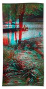 View To The Cove - Use Red-cyan 3d Glasses Beach Towel