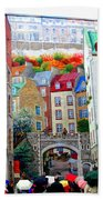 Viewing A Mural At La Fresque Des Quebecois Beach Towel