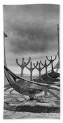 Viking Ship Sculpture Beach Towel