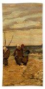 Viktor Ivanovich Zarubin Russian 1866  1928 Fisherwomen In Normandie Beach Towel