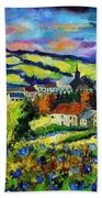 Village And Blue Poppies  Beach Towel