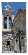 Village Church In Greece Beach Towel