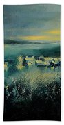 Village In A Misty Morning  Beach Towel
