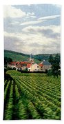 Village In The Vineyards Of France Beach Towel