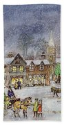 Village Street In The Snow Beach Towel by Stanley Cooke