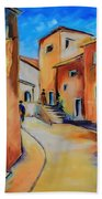Village Street In Tuscany Beach Towel