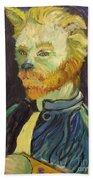 Vincent Van Gogh Cat    Beach Towel