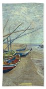 Vincent Van Gogh  Fishing Boats On The Beach At Les Saintes Maries De La Mer Beach Towel