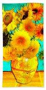 Vincent's Sunflowers 4 Beach Towel