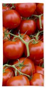 Vine Ripe Tomatos Beach Towel by John Trax