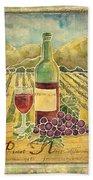 Vineyard Pinot Noir Grapes N Wine - Batik Style Beach Towel