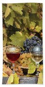 Vineyard With Red And White Wine Autumn Season Beach Towel