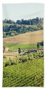 Vineyards With Stone House, Tuscany, Italy Beach Towel