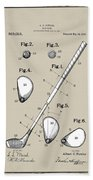 Vintage 1910 Golf Club Patent In Sepia Beach Towel