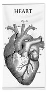 Vintage Anatomical Heart Beach Towel