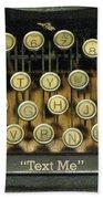 Vintage Antique Typewriter - Text Me - Antique Typewriter Keys Print Black And Gold Beach Towel