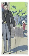 Vintage Art Deco Fashion Print Depicting A Man In Morning Dress Beach Towel